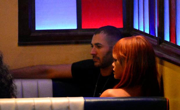 Singer (R) Rihanna and French professional footballer Karim Benzema seen at Coppella Restaurant in Soho on June 2, 2015 in New York City. (Photo by Raymond Hall/GC Images)