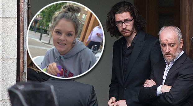 Singer Hozier pictured at the funeral of Olivia Burke, inset