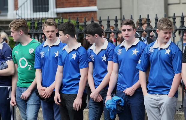 Mourners wearing St Marys and Ireland rugby jerseys at the Church of the Three Patrons, Rathgar for the funeral mass of Niccolai Schuster. Picture credit; Damien Eagers 23/6/2015