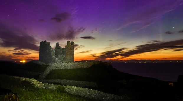 The Aurora Borealis on the morning of June 23, 2015 over O'Brien's Castle on Inis Oírr, Aran Islands. Photo: Cormac Coyne