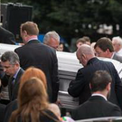 The coffin of Olivia Burke arrives at the Church of Our Lady of Perpetual Succour, Foxrock