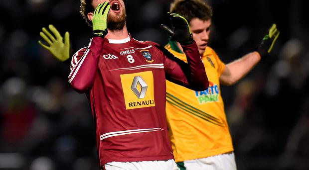 Westmeath's Paul Sharry reacts to a missed chance on goal during the League game against Meath in March