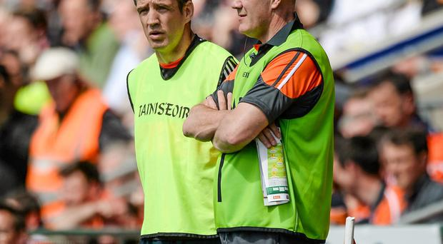 Armagh manager Kieran McGeeney along with assistant manager Martin McQuillan