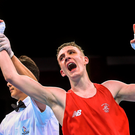 Brendan Irvine celebrates after booking his place in the light-flyweight final in Baku