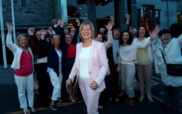 24 June 2015; Deirdre Heney, newly selected for Dublin Bay North for Fianna Fail, with supporters. Clontarf Castle, Dublin. Picture: Caroline Quinn