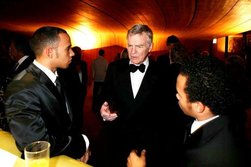 Top gear: Max Mosley with F1 racer Lewis Hamilton