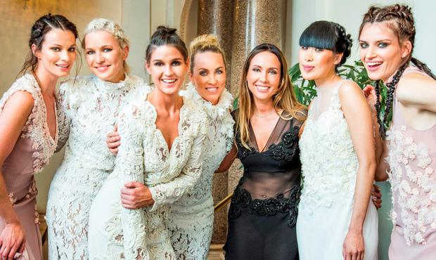 Karen Fitzpatrick, Teodora Sutra, Lynn Kelly, Kathryn Thomas, Lya Solis, Yomiko Chen & Grace Connell pictured at luxury designer Lya Solis's pre autumn / winter 2015 fashion show