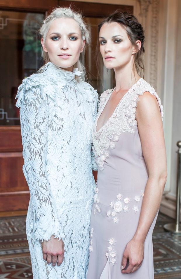 Teodora Sutra & Karen Fitzpatrick pictured at luxury designer Lya Solis's pre autumn / winter 2015 fashion show, which took place on Wednesday, 24th June in the beautiful surrounds of the Banking Hall in the Westin hotel