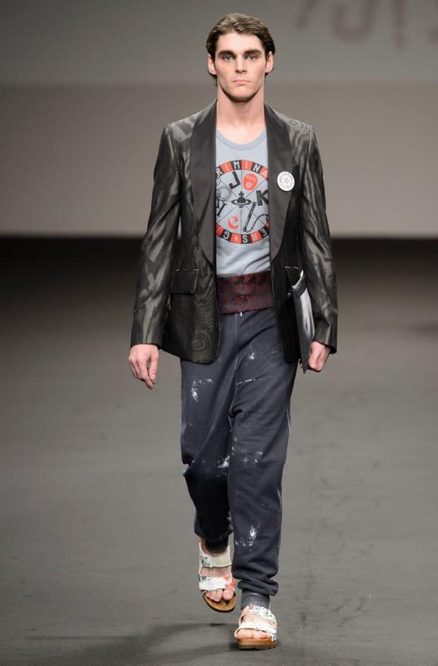 RJ Mitte on the catwalk at Vivienne Westwood show, Spring Summer 2016, Men's Milan Fashion Week. Photo by Lucioni/REX Shutterstock