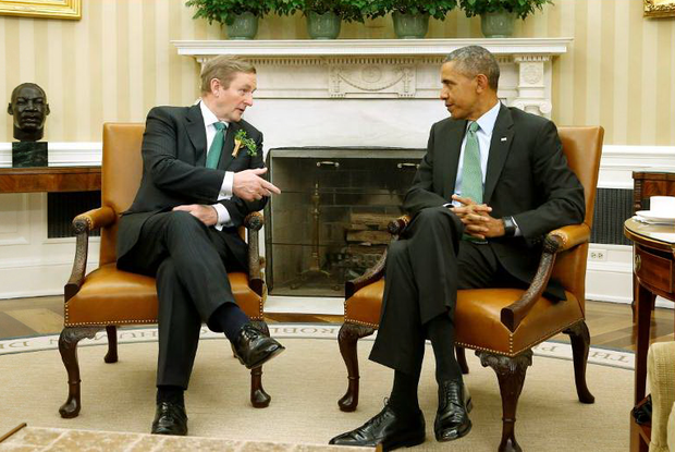 U.S. President Barack Obama (right) and Ireland's Prime Minister Enda Kenny speak to reporters after their meeting in the Oval Office as part of a St. Patrick's Day visit at the White House in Washington on March 17, 2015. Reuters/Jonathan Ernst
