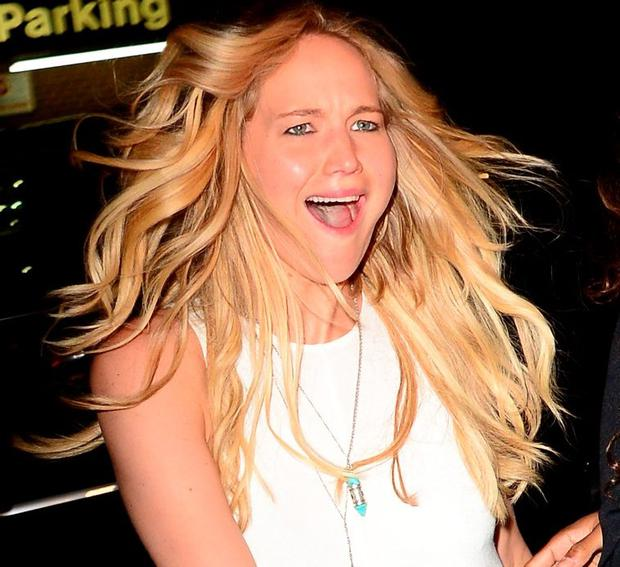 Actress Jennifer Lawrence is seen walking iSoho on June 24, 2015 in New York City. (Photo by Raymond Hall/GC Images)