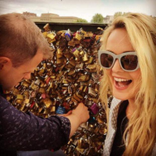 Aoibhin Garrihy and her new fiance John Burke enjoy a romantic break in Paris