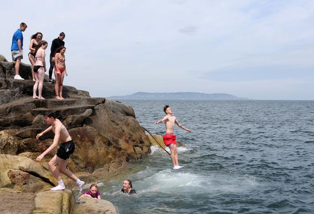 Enjoying the sunshine and warm temperatures at Sandycove, Dublin this afternoon