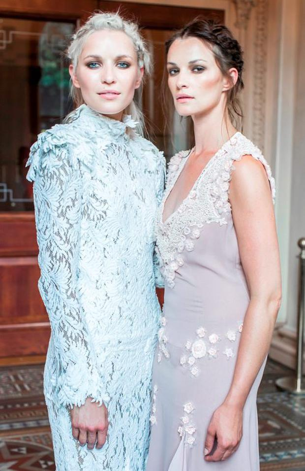 Teodora Sutra & Karen Fitzpatrick pictured at luxury designer Lya Solis's pre autumn / winter 2015 fashion show. Photo: Anthony Woods.