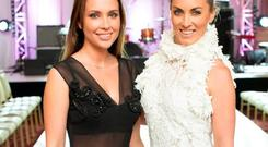 Lya Solis & Kathryn Thomas pictured at luxury designer Lya Solis's pre autumn / winter 2015 fashion show. Photo: Anthony Woods.