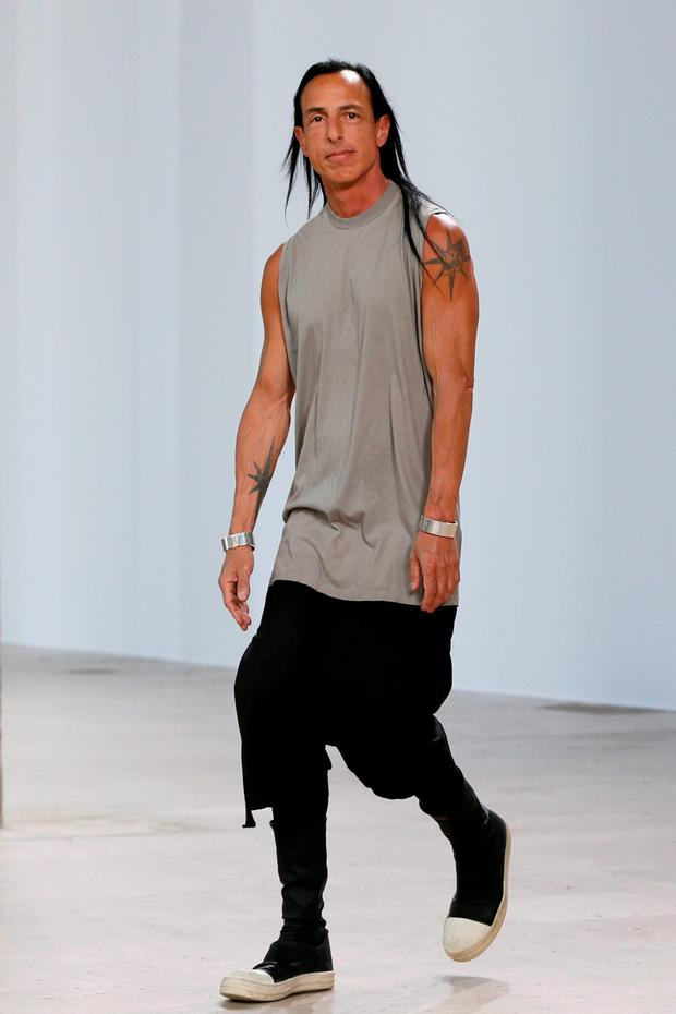 US designer Rick Owens is pictured at the end of his men's Spring Summer collection fashion show in Paris