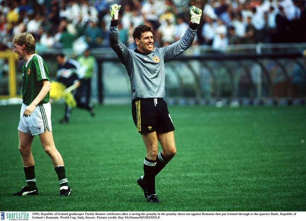 25 June 1990; Republic of Ireland goalkeeper Packie Bonner celebrates after a saving the penalty in the penalty shoot out against Romania that put Ireland through to the quarter finals. 1990 FIFA World Cup, Second Round, Republic of Ireland v Romania, Stadio Luigi Ferraris, Genoa, Italy. Picture credit: Ray McManus / SPORTSFILE