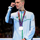 Brendan Irvine scknowledges the applause after being presented with his silver medal in Baku