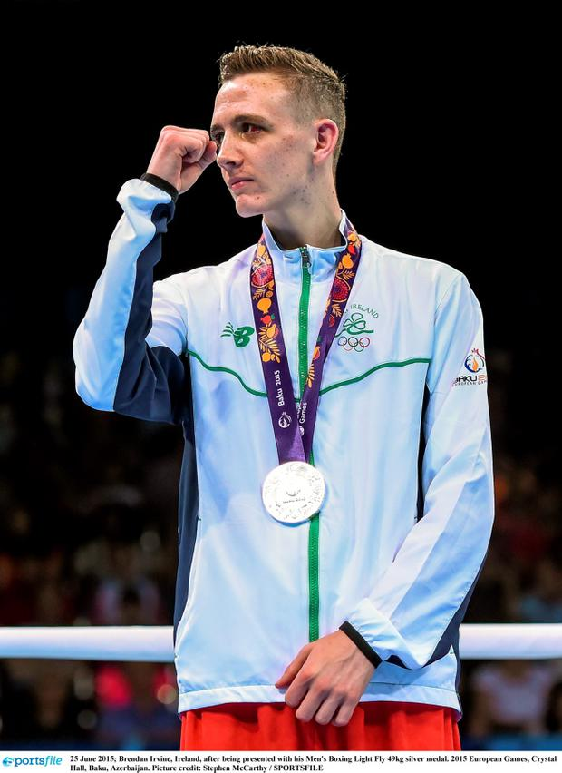 Brendan Irvine after being presented with his Men's Boxing Light Fly 49kg silver medal. 2015 European Games, Crystal Hall, Baku, Azerbaijan. Photo: Stephen McCarthy / Sportsfile