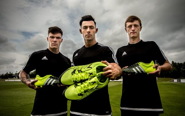 Left to right: Shamrock Rovers' Brandon Miele, Dundalk's Richie Towel and St. Patrick's Athletic's Chris Forrester Photo: INPHO/James Crombie