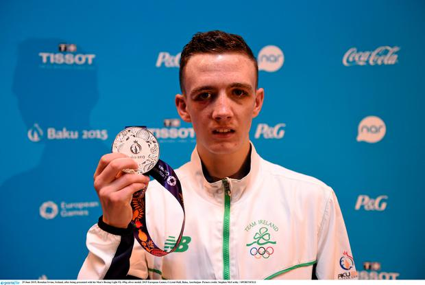 25 June 2015; Brendan Irvine, Ireland, after being presented with his Men's Boxing Light Fly 49kg silver medal. 2015 European Games, Crystal Hall, Baku, Azerbaijan. Picture credit: Stephen McCarthy / SPORTSFILE