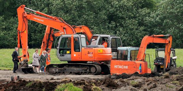 A dig on the farmland in Coghalstown, Co Meath, as part of the search for the remains of former monk Joe Lynskey, unearthed two bodies next to each other yesterday. Photo: Niall Carson/PA Wire