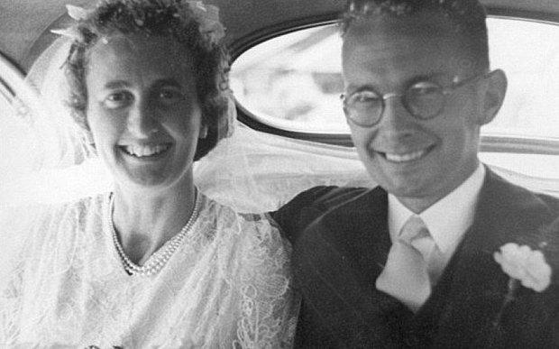 Joan and Hugh on their wedding day 67 years ago.
