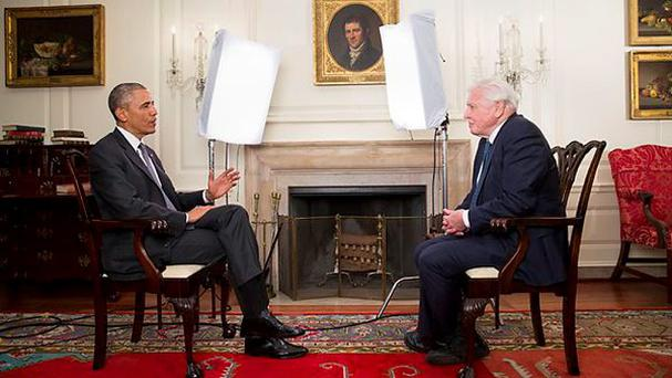 President Barack Obama interviews Sir David Attenborough at the White House for BBC One