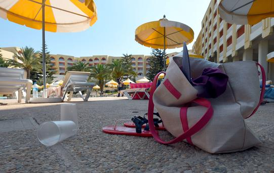 Items left abandonded by tourist in the resort town of Sousse, were a gunman killed 37 people in a mass shooting