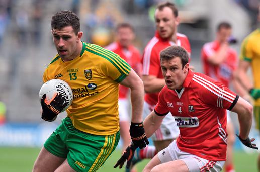 Paddy McBrearty in action for Donegal against Cork during their League campaign