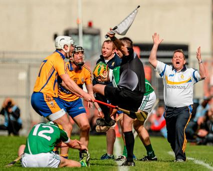 Clare manager Davy Fitzgerald reacts to a decision by linesman Diarmuid Kirwan, during the Munster GAA Hurling Senior Championship quarter-final between Clare and Limerick at Semple Stadium in Thurles, Co Tipperary, back in May. Photo: Sportsfile