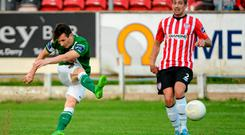 26 June 2015; Liam Miller, Cork City, takes a shot on goal. SSE Airtricity League Premier Division, Derry City v Cork City, Brandywell, Derry. Picture credit: Oliver McVeigh / SPORTSFILE