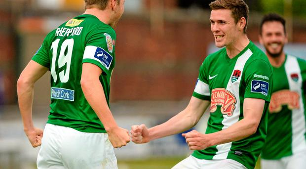 Karl Sheppard, left, celebrates with Garry Buckley after scoring Cork City's opener