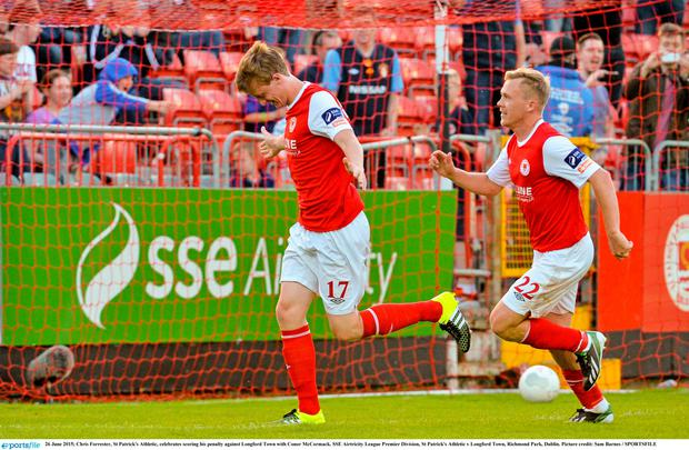 Chris Forrester, St Patrick's Athletic, celebrates scoring his penalty against Longford Town with Conor McCormack. SSE Airtricity League Premier Division, St Patrick's Athletic v Longford Town, Richmond Park, Dublin. Picture credit: Sam Barnes / SPORTSFILE