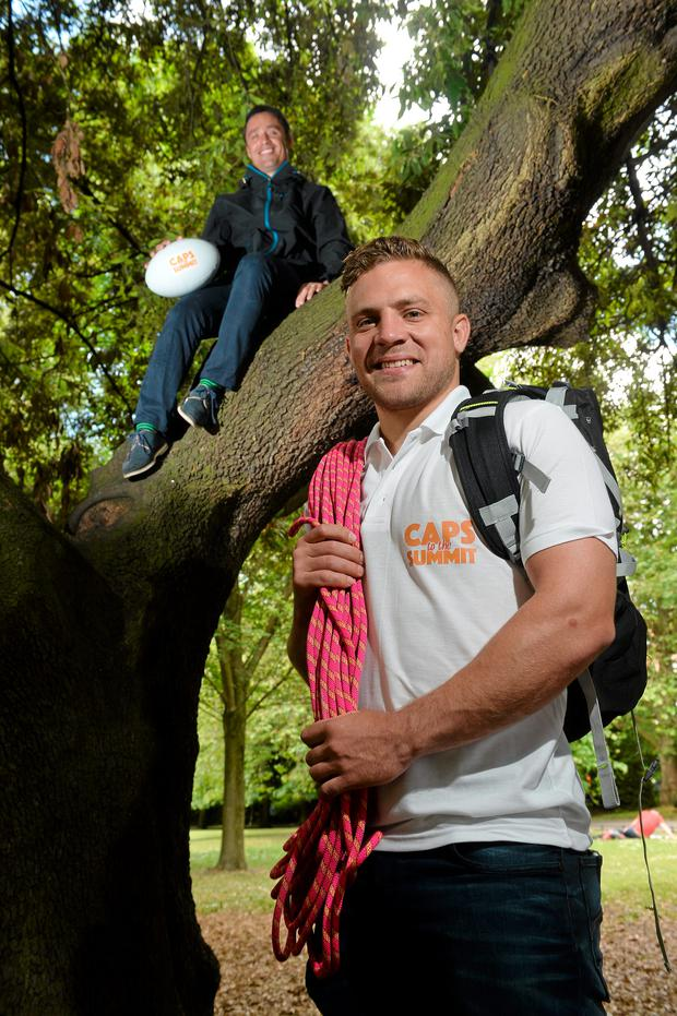 Ian Madigan and Alan Kerins at the launch of Caps to the Summit, which will see 32 former Irish rugby heroes hike to the summit of Carrauntuohil in September to raise money for the Alan Kerins Projects and Gorta-Self Help Africa