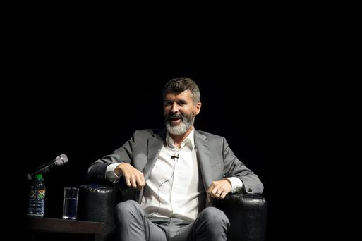 Roy Keane answers questions during an interview with Matt Cooper at Barrettstown Talks at the Olympia Theatre