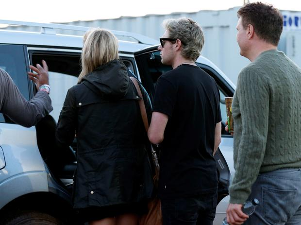 Niall Horan of One Direction (centre)backstage at the Glastonbury Festival, at Worthy Farm in Somerset. PRESS ASSOCIATION Photo. Picture date: Friday June 26, 2015. Photo credit should read: Yui Mok/PA Wire
