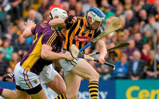 TJ Reid, Kilkenny, in action against Matthew O'Hanlon and Liam Ryan during last week's game