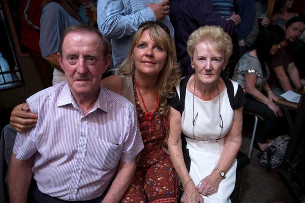 26/6/15 George's parents Mick and Kay and sister Andrea at a memorial Concert For George Byrne at Whelans, in aid of the Liberties charity. Picture: Arthur Carron