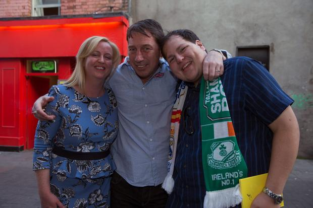 George's partner Julie Sinott, friend Mark Roger and nephew Jamie Byrne at a memorial Concert For George Byrne at Whelans, in aid of the Liberties charity. Picture: Arthur Carron