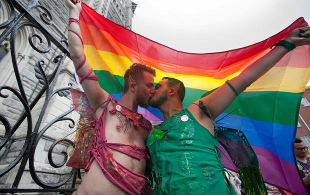 Adam Smolarek & Salvatore Candela both from the City Centre during the Dublin LGBTQ Pride Parade 2015 in Dublin's City Centre. Photo: Gareth Chaney Collins