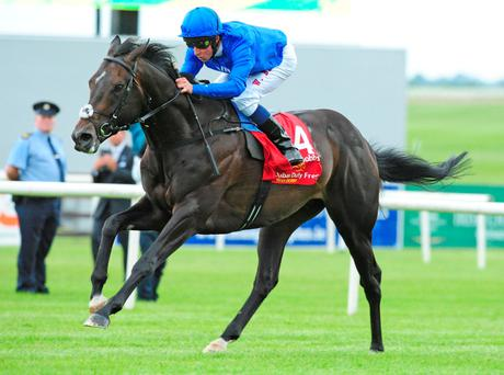 Jack Hobbs and William Buick win the 150th Dubai Duty Free Irish Derby during day two of the Irish Derby Festival at the Curragh