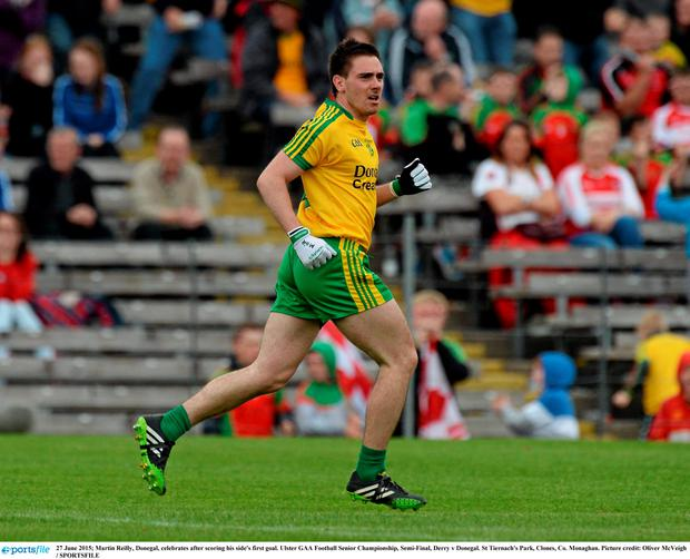 27 June 2015; Martin Reilly, Donegal, celebrates after scoring his side's first goal. Ulster GAA Football Senior Championship, Semi-Final, Derry v Donegal. St Tiernach's Park, Clones, Co. Monaghan. Picture credit: Oliver McVeigh / SPORTSFILE