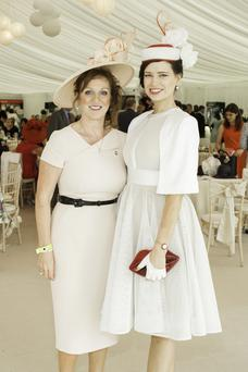 Sinead El Sibai & Lorraine O'Sullivan pictured at the 150th Dubai Duty Free Irish Derby at the Curragh Racecourse on Saturday 27th June. Photo Anthony Woods.