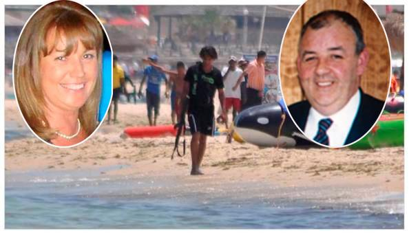 Laurence (pictured right) and Martina Hayes and named among murder victims of terrorist. Lorna Carty (pictured left) was also tragically killed in beach attack