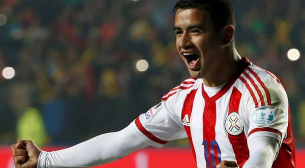 Paraguay's Derlis Gonzalez celebrates after scoring the winning goal in a penalty shootout against Brazil in their Copa America 2015 quarter-final
