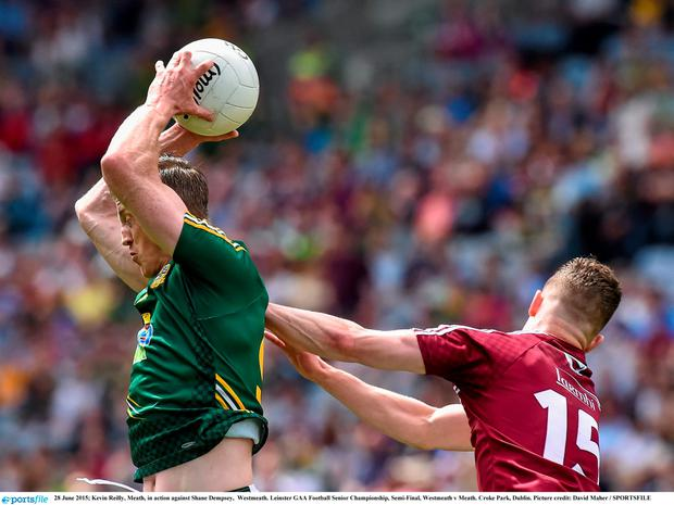 28 June 2015; Kevin Reilly, Meath, in action against Shane Dempsey, Westmeath. Leinster GAA Football Senior Championship, Semi-Final, Westmeath v Meath. Croke Park, Dublin. Picture credit: David Maher / SPORTSFILE