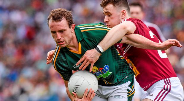 28 June 2015; Eamon Wallace, Meath, in action against Jamie Gounod, Westmeath. Leinster GAA Football Senior Championship, Semi-Final, Westmeath v Meath. Croke Park, Dublin. Picture credit: David Maher / SPORTSFILE