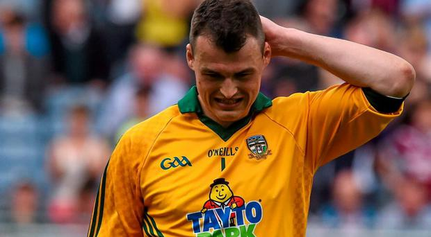 A dejected Paddy O'Rourke, Meath, after he was sent off during today's game