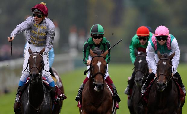 Thierry Jarnet riding Treve wins The Prix de I'Arc de Triomphe at Longchamp